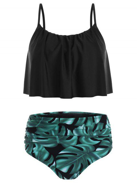 Leaves Print Ruched Overlay Tankini Swimsuit - BLACK L