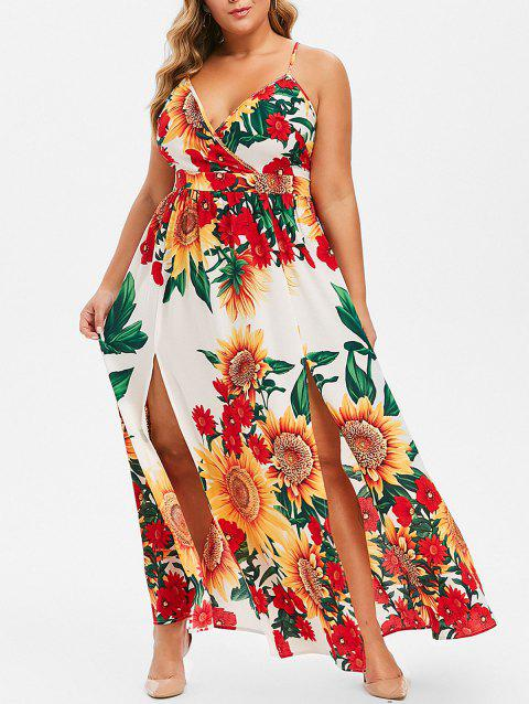 Plus Size Sunflower Print High Slit Dress - WHITE 3X
