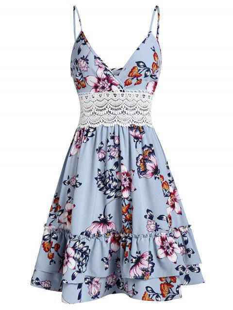 Crochet Panel Flower Print Cami Flounce Dress - LIGHT BLUE M