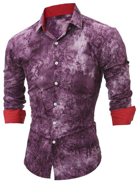 Tie Dye Contrast Patch Fitted Shirt - MEDIUM VIOLET RED S