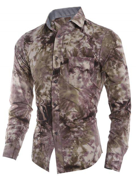 Tie Dye Print Pocket Fitted Button Up Shirt - multicolor S