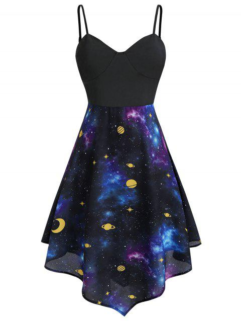 Plus Size Asymmetric Moon and Star Starry Cami Dress - multicolor L