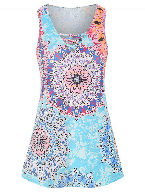 V Neck Floral Lattice Tank Top - multicolor B 2XL