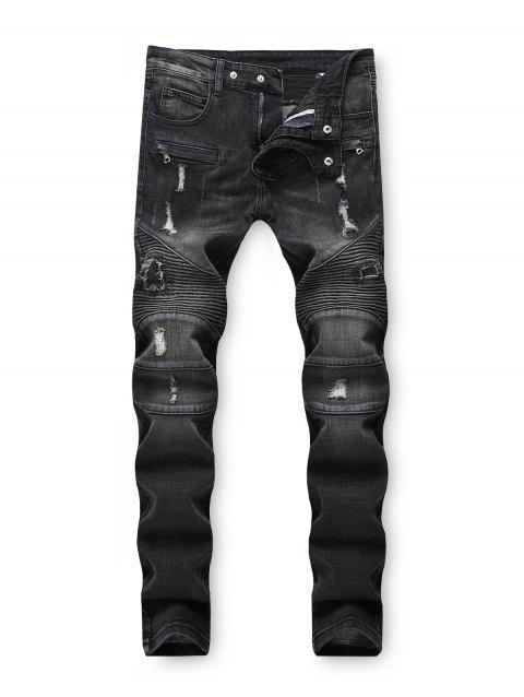 Dark Wash Ripped Decoration Jeans - BLACK 36