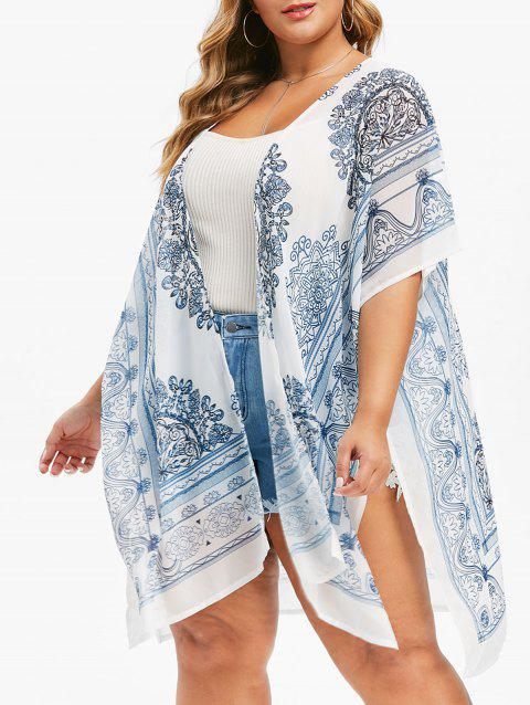 Printed Bawing Open Front Slit Plus Size Blouse - WHITE ONE SIZE