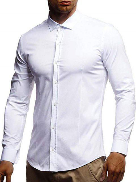 Casual Solid Color Long Sleeves Shirt - WHITE XL