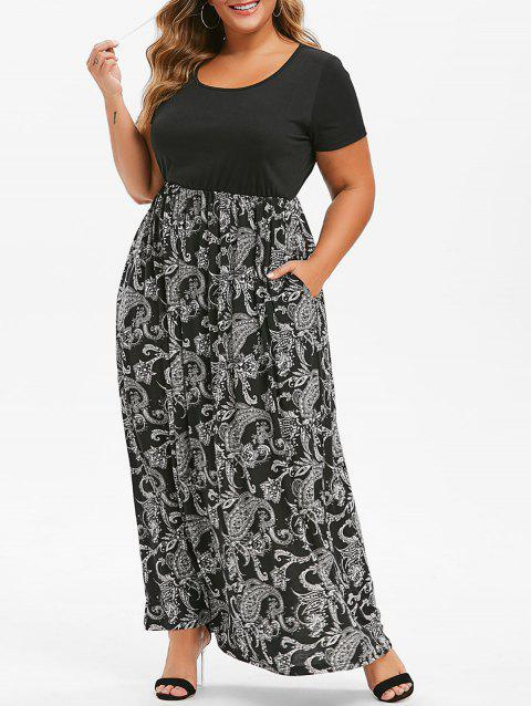 Printed Seam Pockets Maxi Plus Size Dress - BLACK 4X