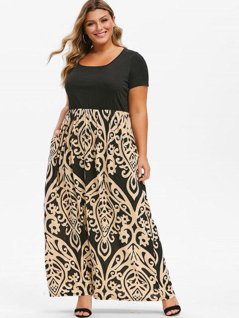 Printed Seam Pockets Maxi Plus Size Dress