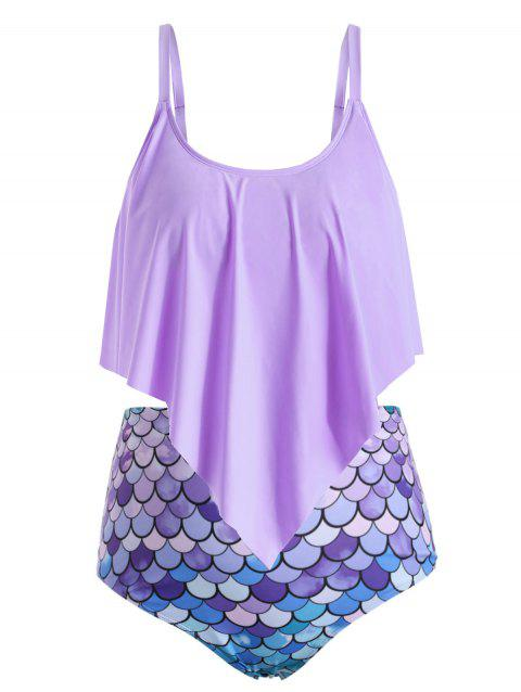 Plus Size Ruffle Fish Scale Print Tankini Swimsuit - MAUVE 2X