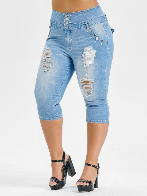 Plus Size High Waisted Ripped Cropped Jeans - DENIM BLUE 4X