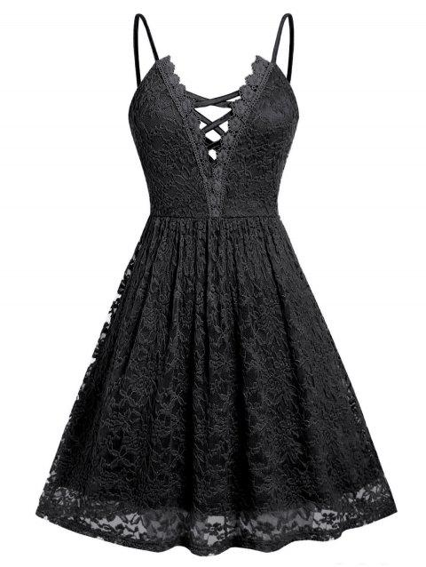 Plus Size Lace Criss Cross Cami Dress - BLACK L