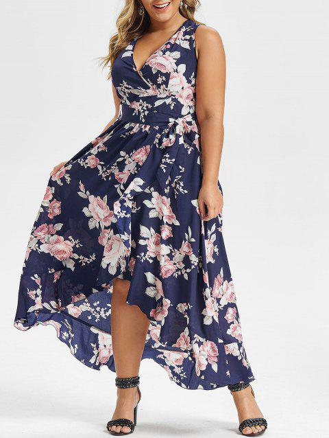 Plus Size Floral Print Sleeveless High Low Maxi Dress - CADETBLUE 3X