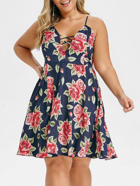 Plus Size Floral Print Criss Cross Cami Mini Dress - CADETBLUE 5X