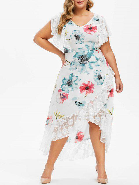 Plus Size Flower Lace Insert Butterfly Sleeve Dress - WHITE L