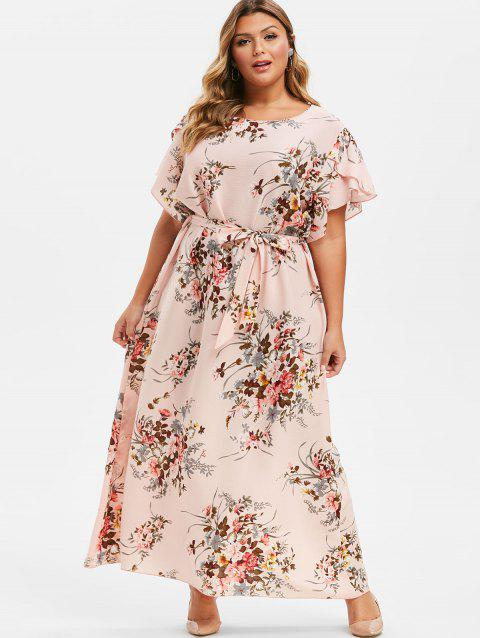 Plus Size Floral Tulip Sleeve Maxi Dress