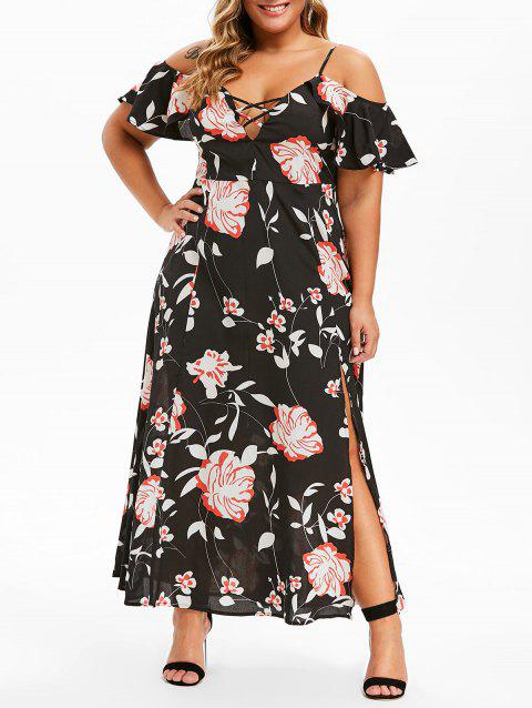 Plus Size Cold Shoulder Ruffled Floral Print Maxi Dress - BLACK 5X