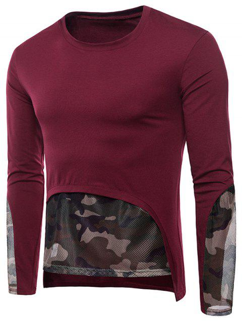 Camouflage Print Mesh Trim Casual T-shirt - RED WINE L