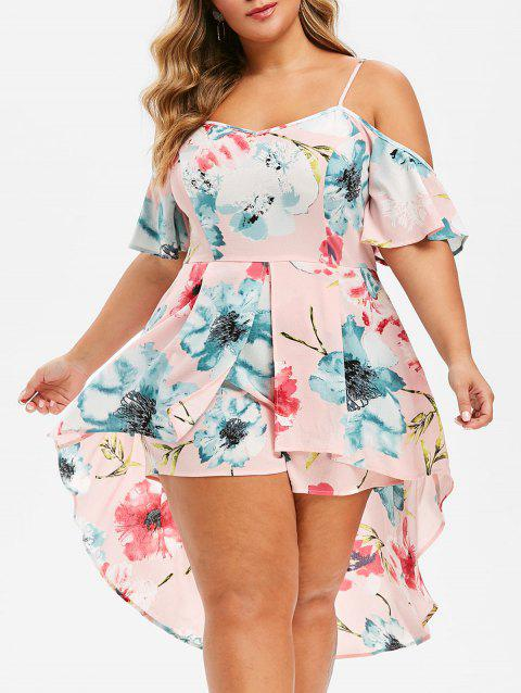 Plus Size Floral Print Overlay Cami Romper - PINK L