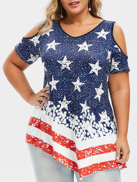 Plus Size Open Shoulder American Flag Print T-shirt - NAVY BLUE 5X