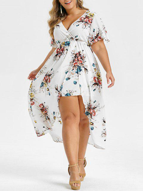 Plus Size V Neck Flare Sleeve High Low Long Dress