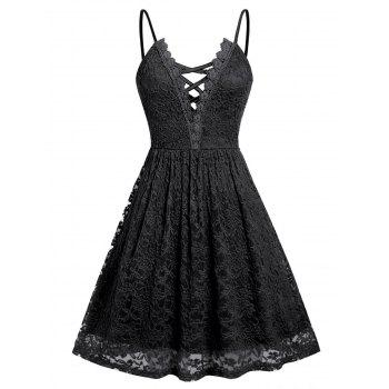 Plus Size Lace Criss Cross Cami Dress