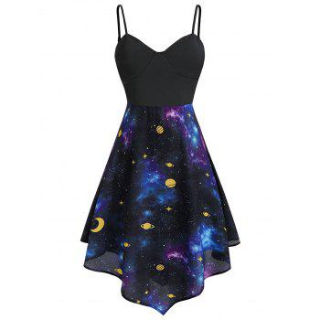 Plus Size Asymmetric Moon and Star Starry Cami Dress
