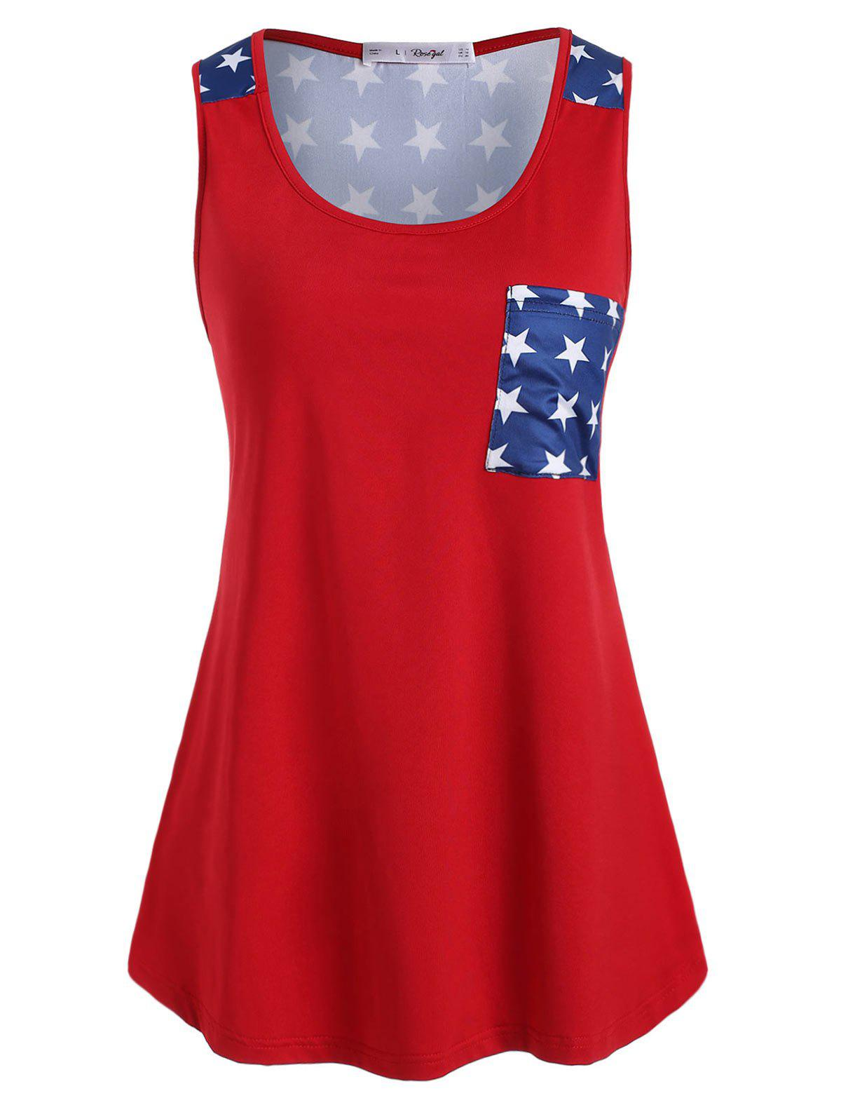 Plus Size Pocket American Flag Print Tank Top - RED 1X