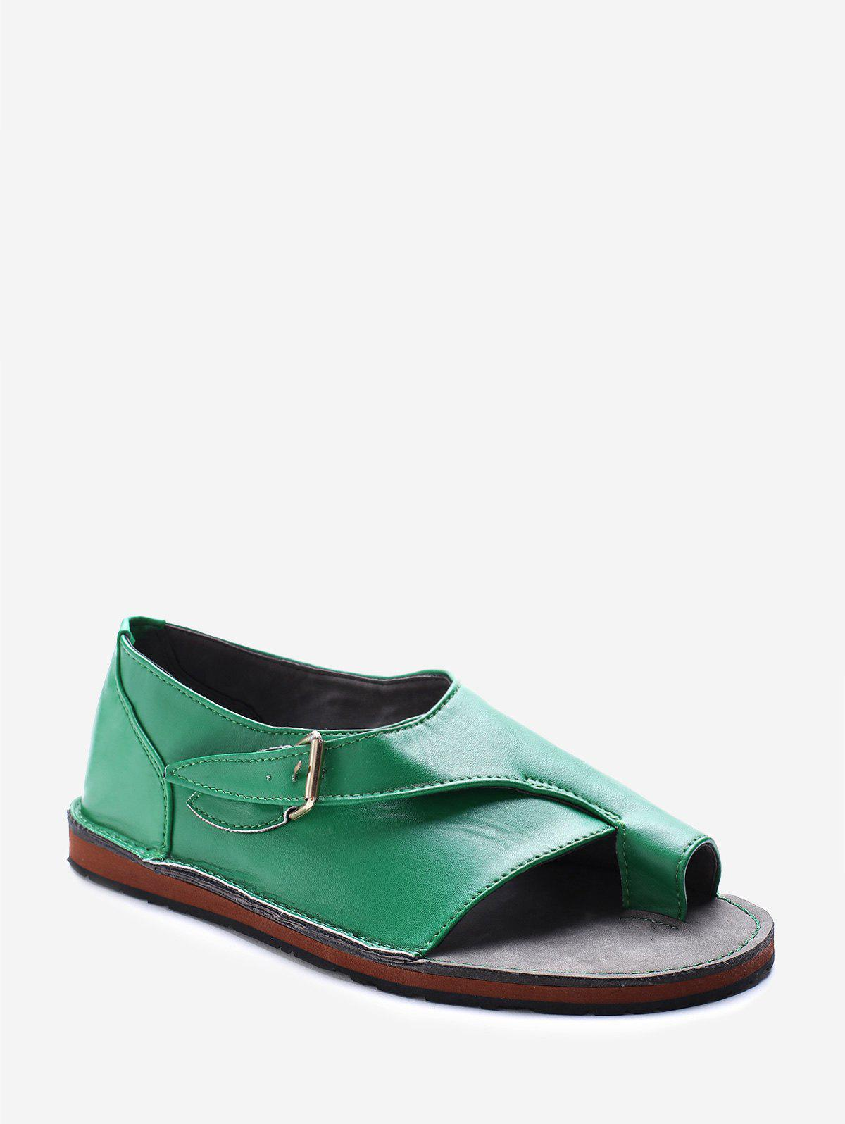 Flat Heel Buckle Strap Sandals - GREEN EU 42