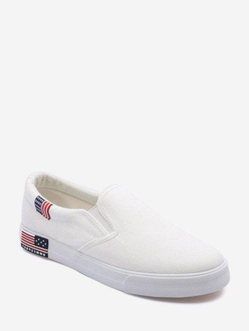American Flag Detail Canvas Loafer Shoes - WHITE EU 37