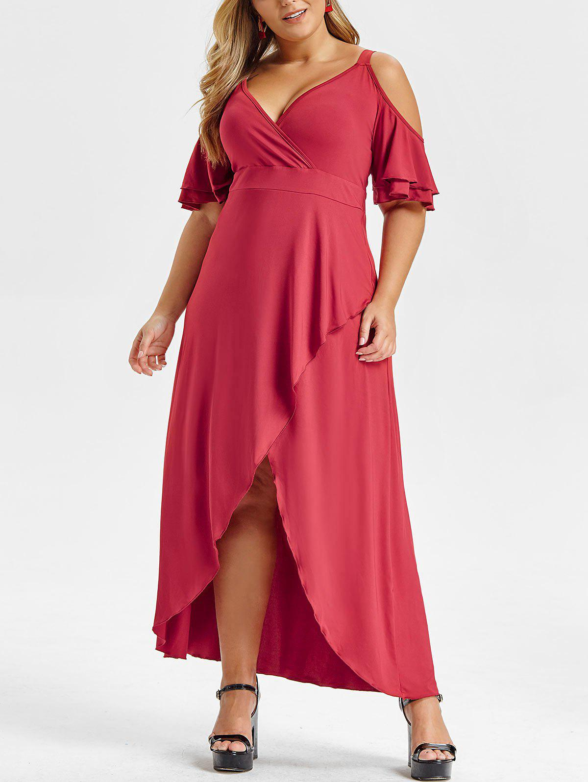 Plus Size Cold Shoulder High Low Maxi Dress - RED WINE 4X