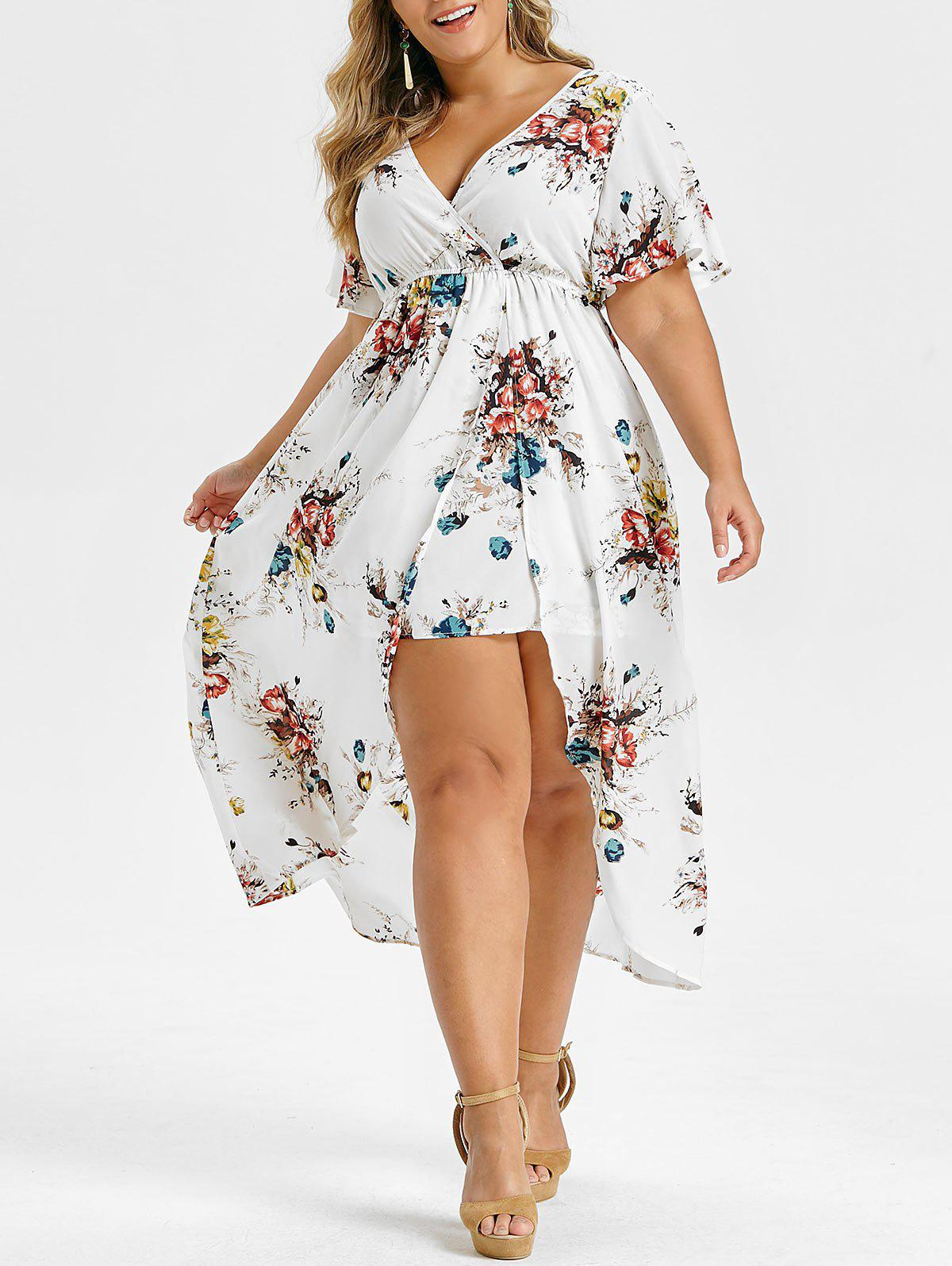 Plus Size V Neck Flare Sleeve High Low Long Dress - WHITE 5X