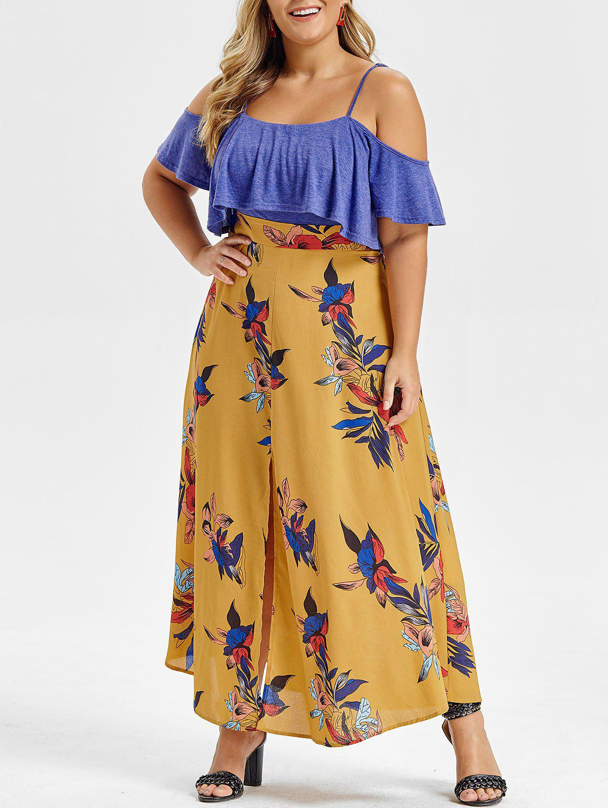 Plus Size Ruffled Cold Shoulder Floral High Slit Dress - BEE YELLOW 1X