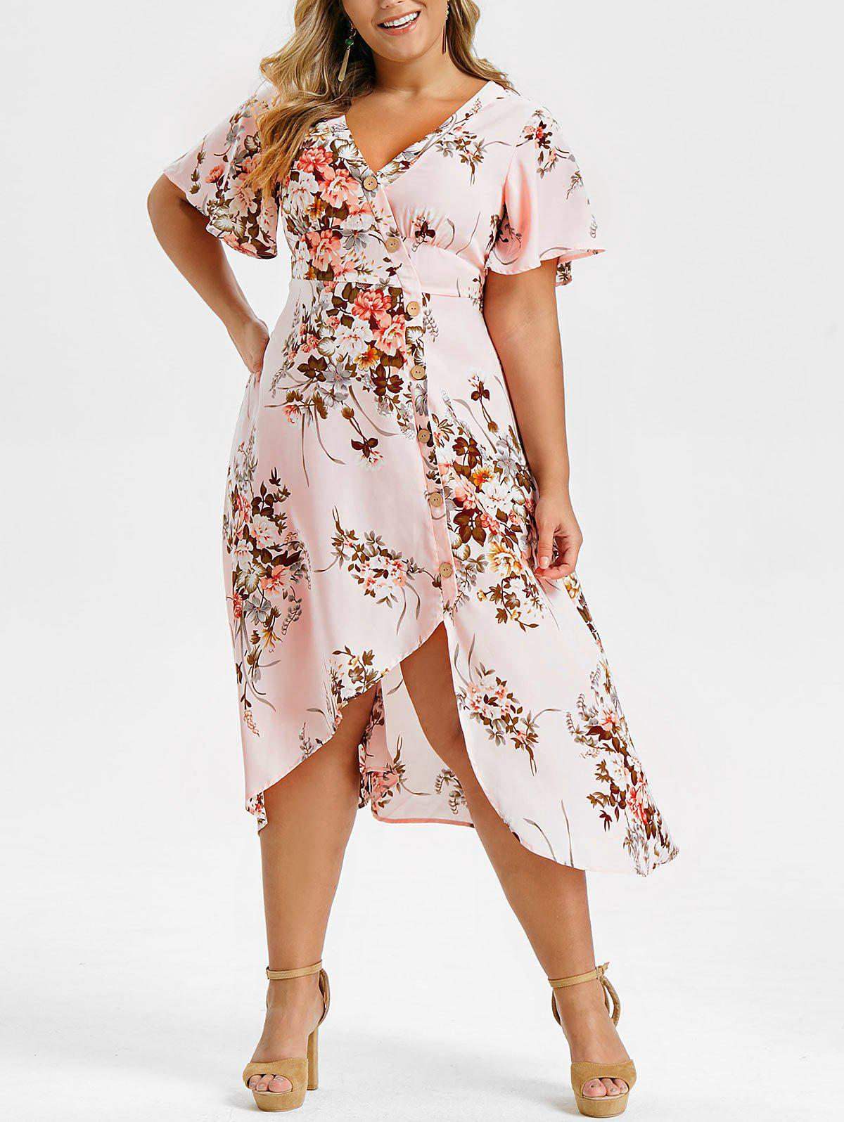 Plus Size Floral Print Buttons High Low Dress - PIG PINK 2X