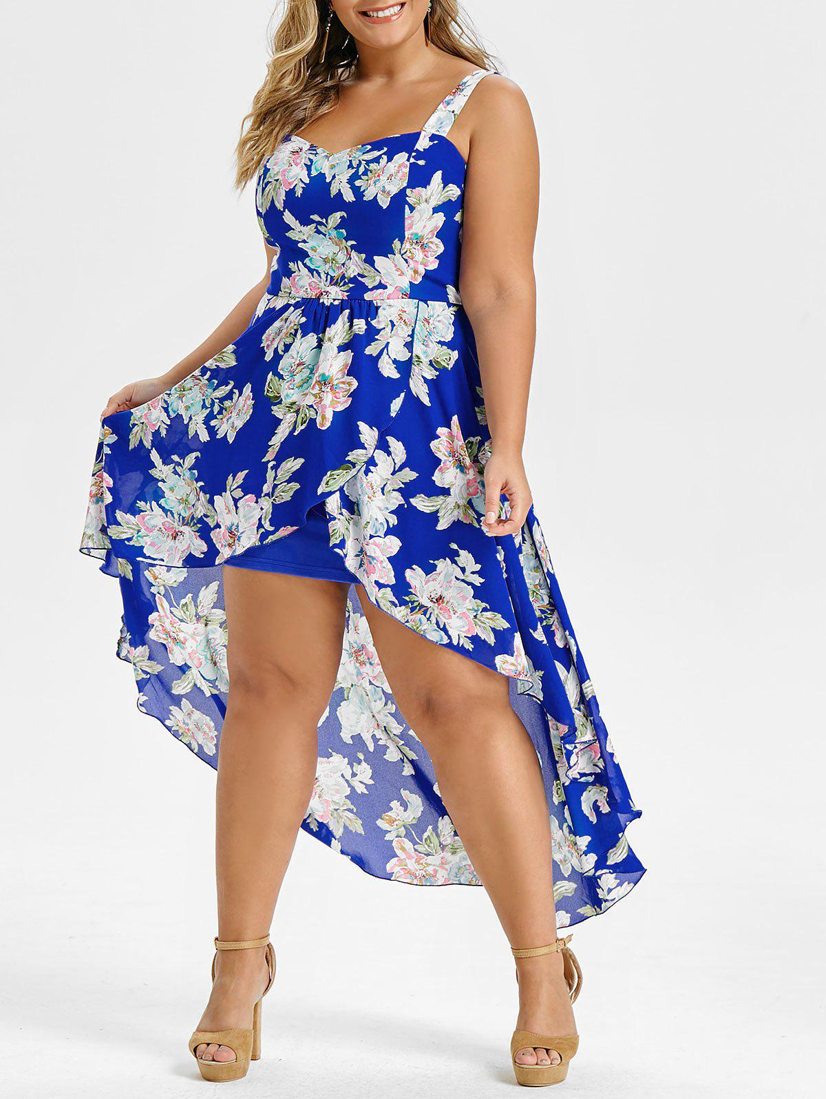 Plus Size Floral Print Overlay High Low Maxi Dress - BLUE 4X