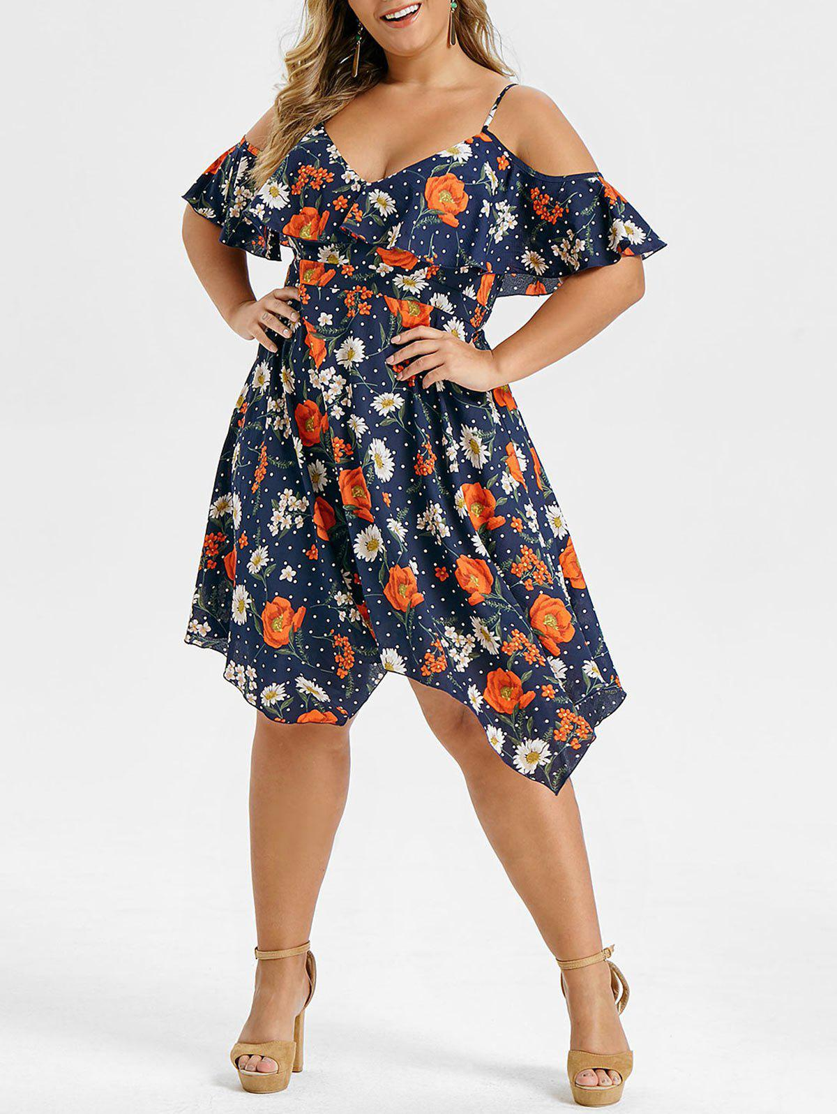 Plus Size Asymmetrical Floral Print Ruffled Dress - CADETBLUE 3X