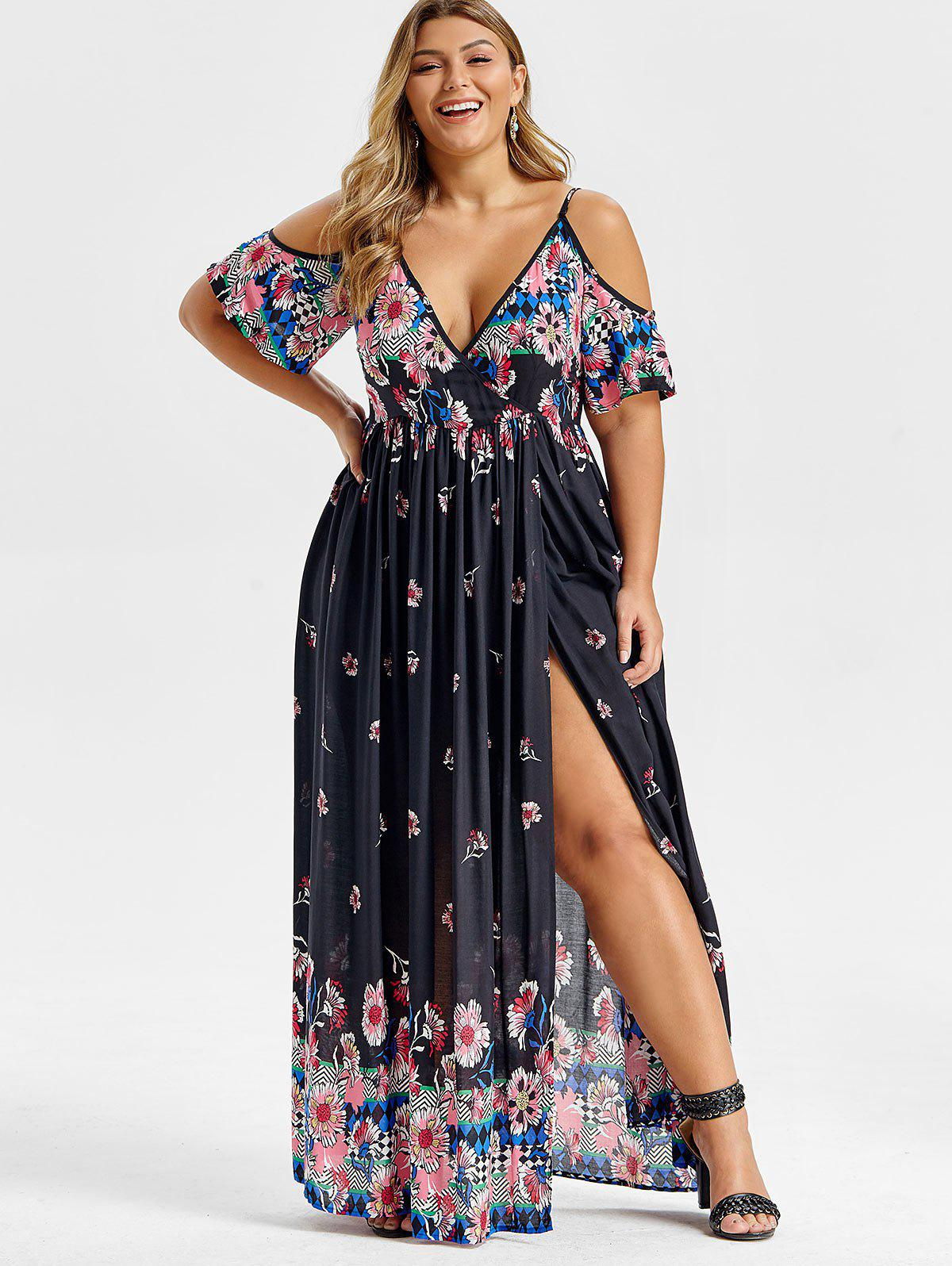 Plus Size Maxi Floral Print Cold Shoulder Dress