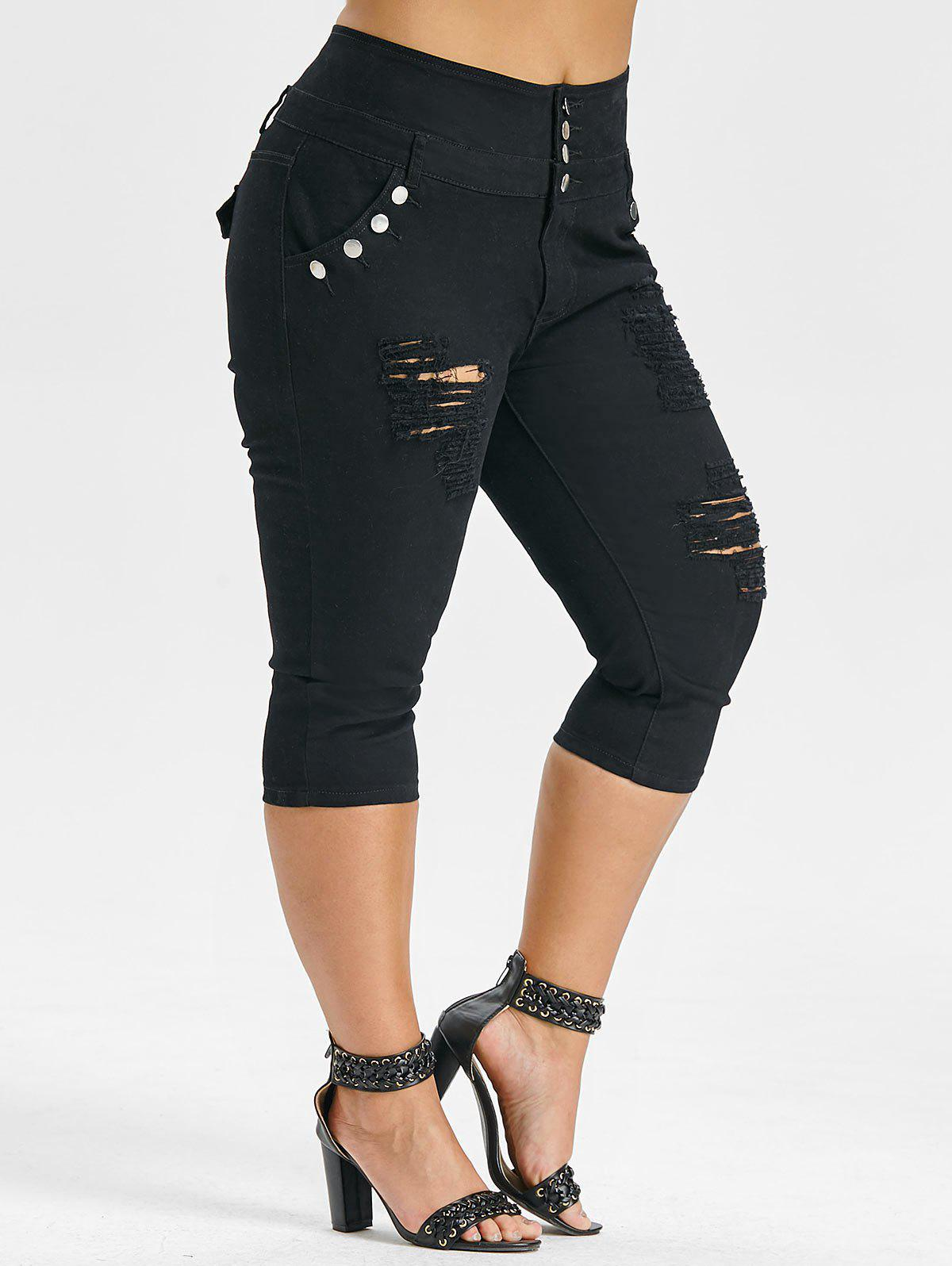 Plus Size High Waisted Ripped Cropped Jeans - BLACK 5X