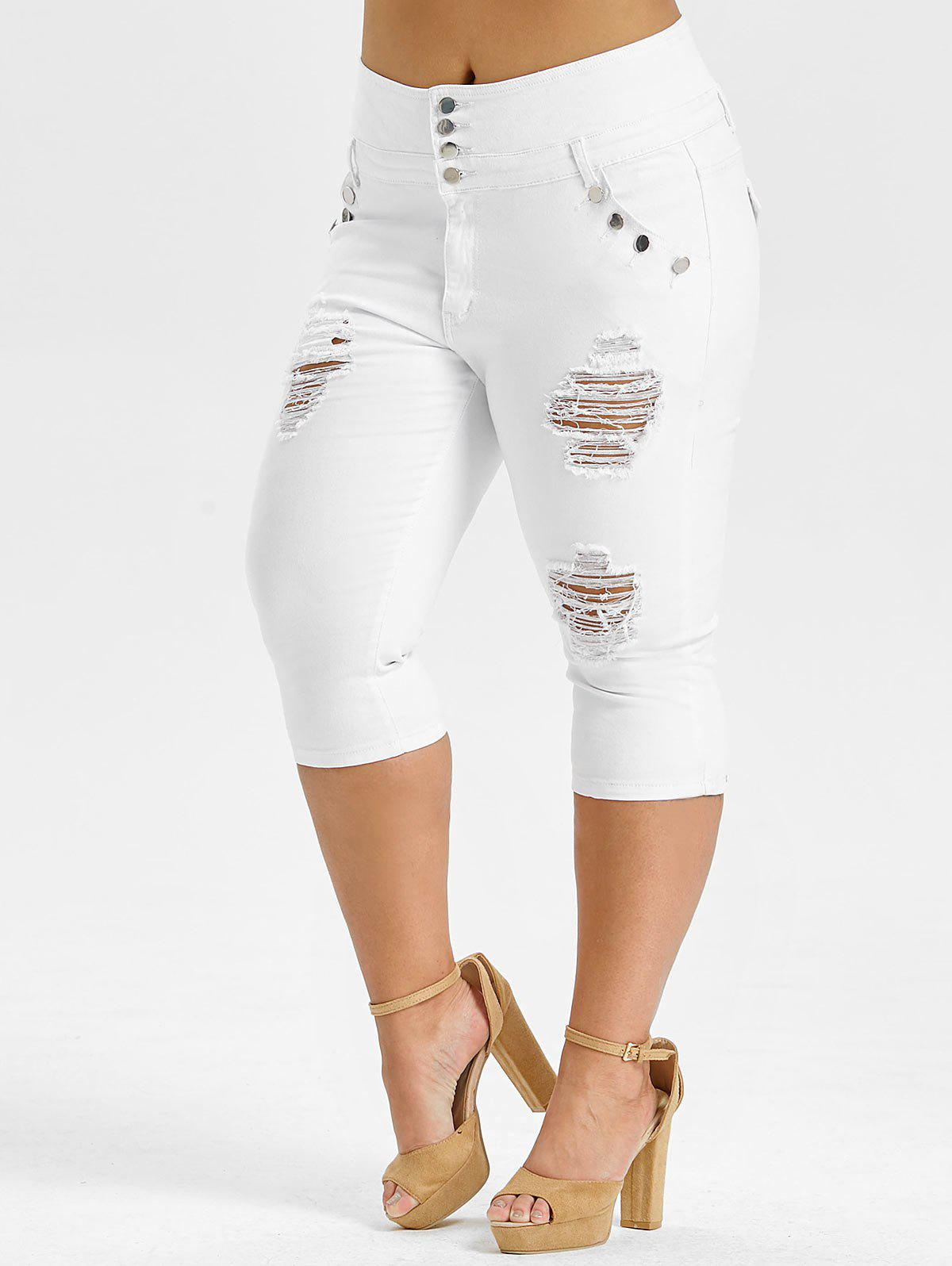 Plus Size High Waisted Ripped Cropped Jeans, White