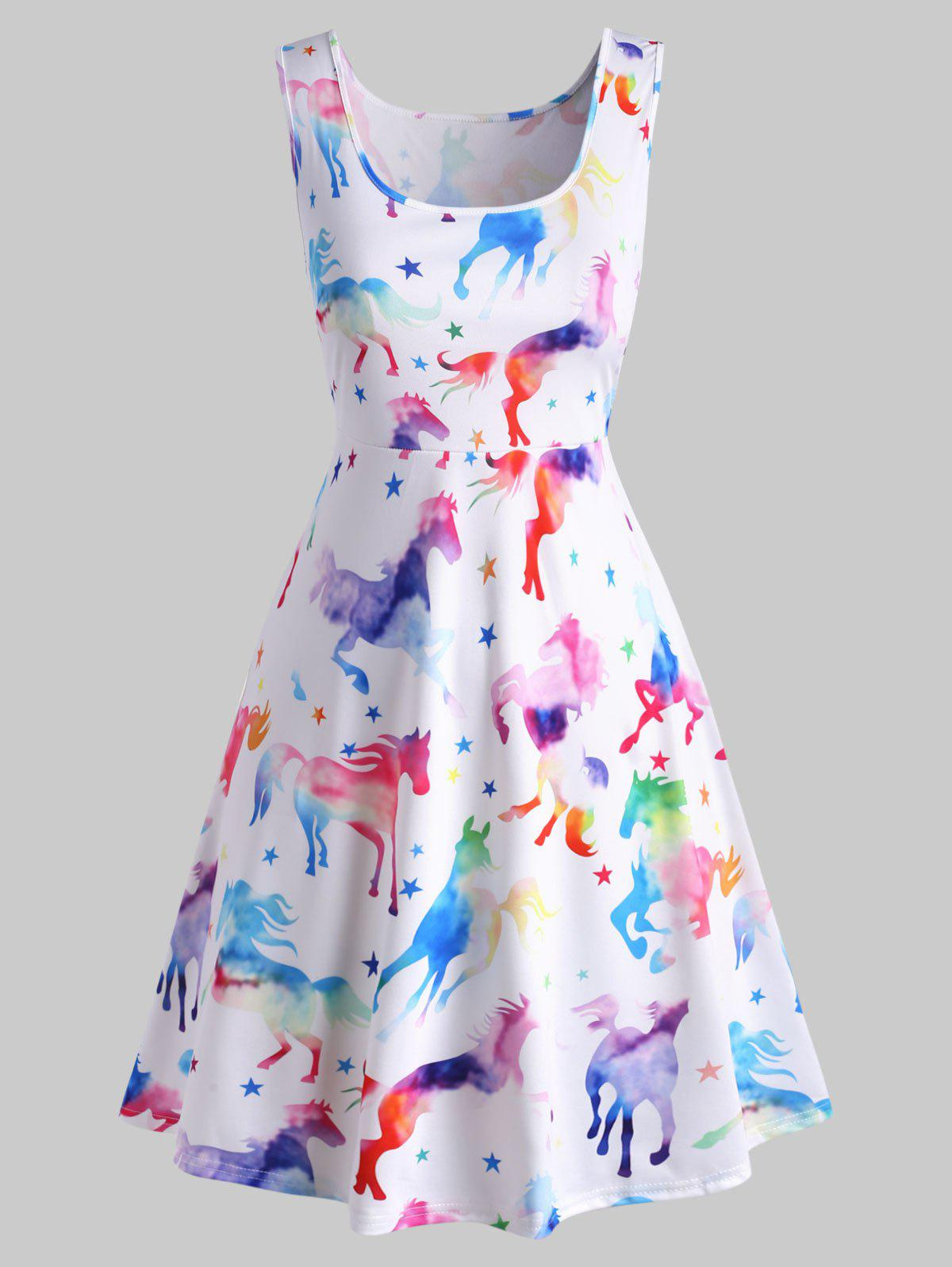 Plus Size Ombre Color Horse Print Mini Dress - WHITE 1X