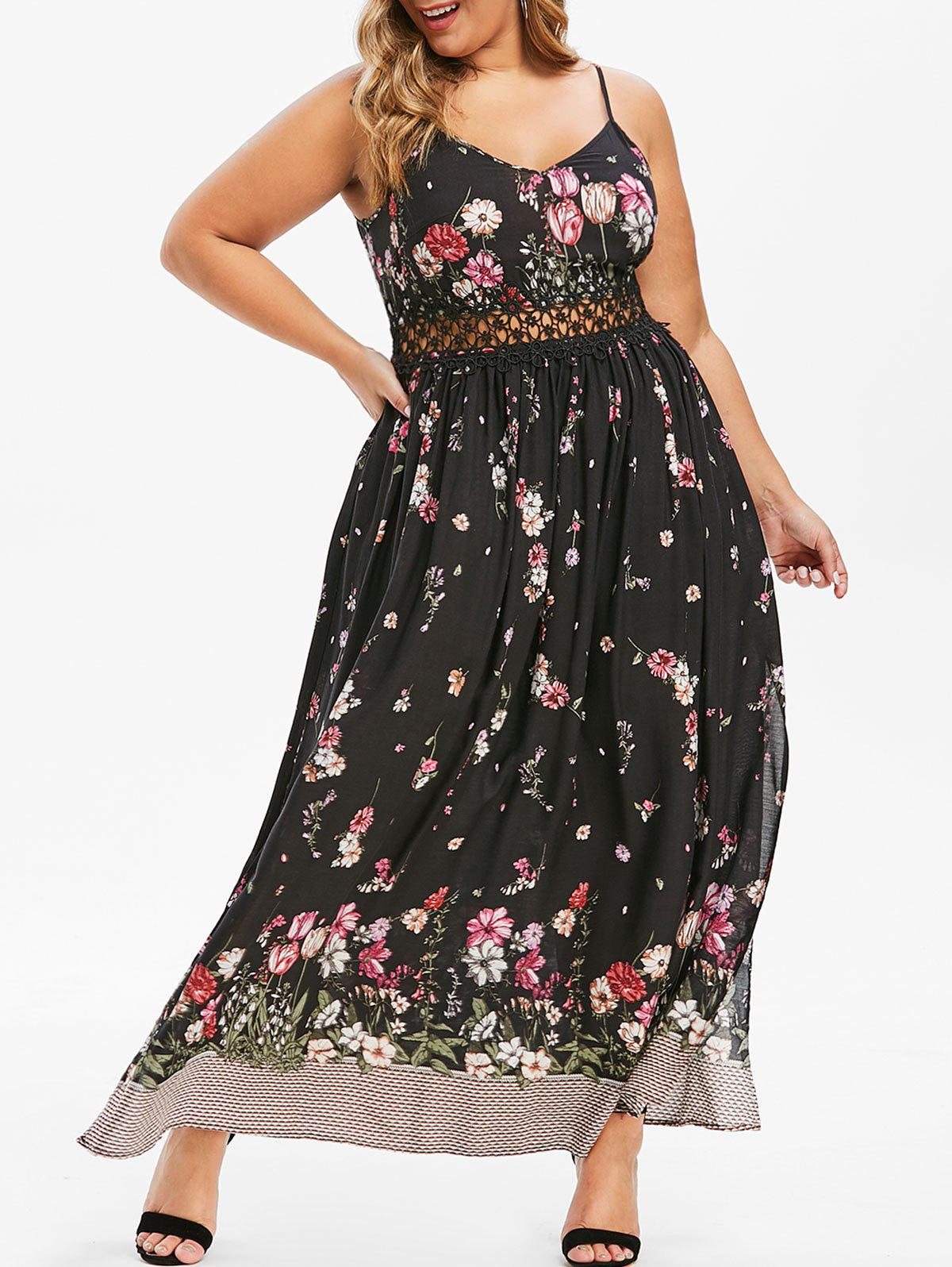 Plus Size Floral Print High Slit Maxi Bohemian Dress - BLACK 3X