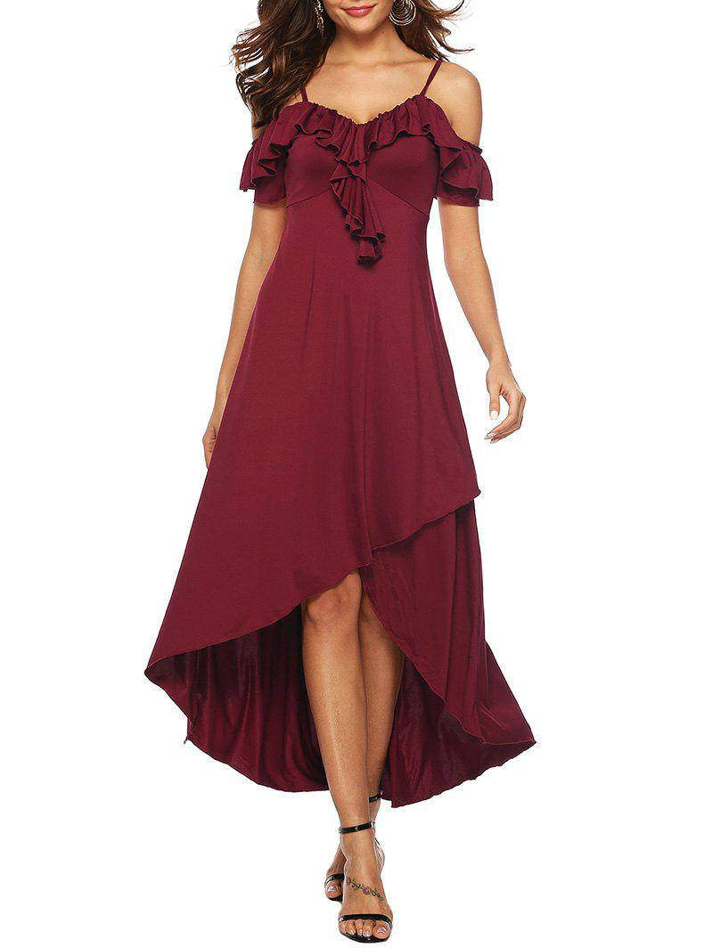 Ruffle Cold Shoulder High Low Dress - RED WINE XL