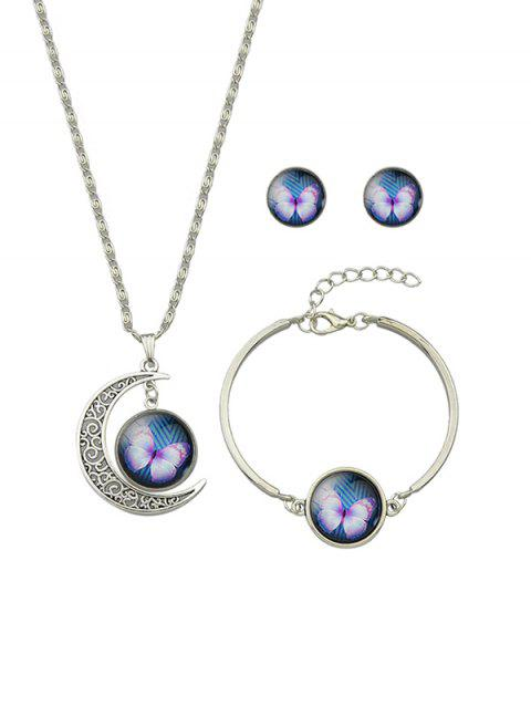 Retro Moon Butterfly Necklace Earrings Bracelet Set - BLUE