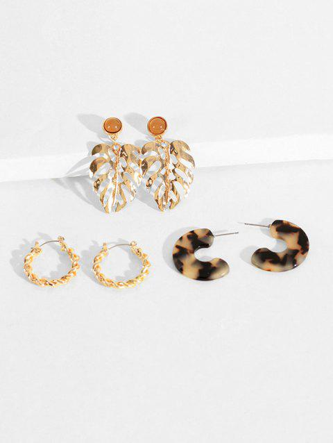 Leaves C-shaped Drop Hoop Earrings Set - GOLD