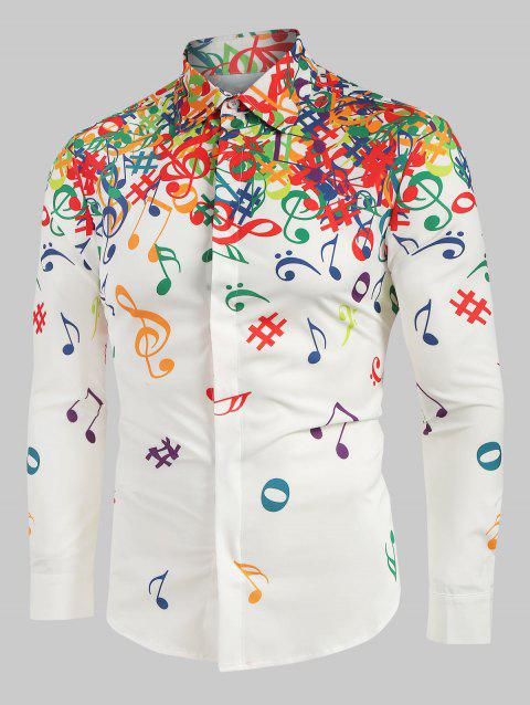Musical Note Pattern Long Sleeves Shirt - WHITE 2XL