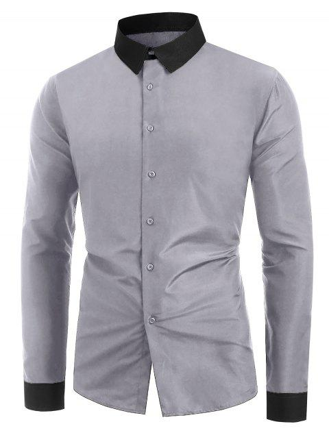 Button Up Color Spliced Long Sleeves Shirt - GRAY CLOUD 2XL