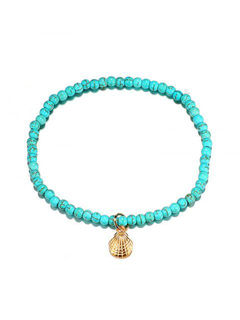Faux Turquoise Beaded Scallop Anklet - BLUE