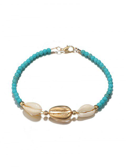 Faux Turquoise Beads Shell Anklet - BLUE