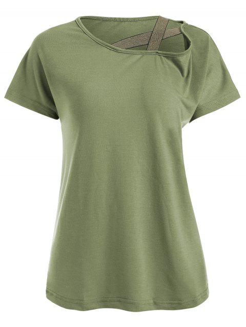 Criss Cross Straps Skew Neck Casual Tee - ARMY GREEN XL