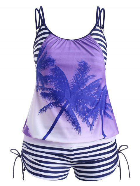 Stripes Palm Tree Cinched Plus Size Tankini Swimsuit - multicolor A 1X