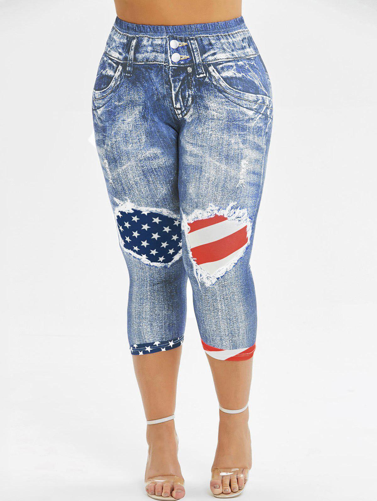 American Flag 3D Printed Skinny Capri Plus Size Jeggings - LIGHT BLUE L
